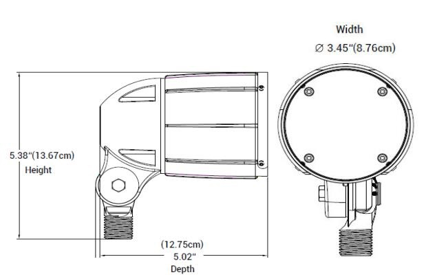 12W Bullet Flood Light Dimension