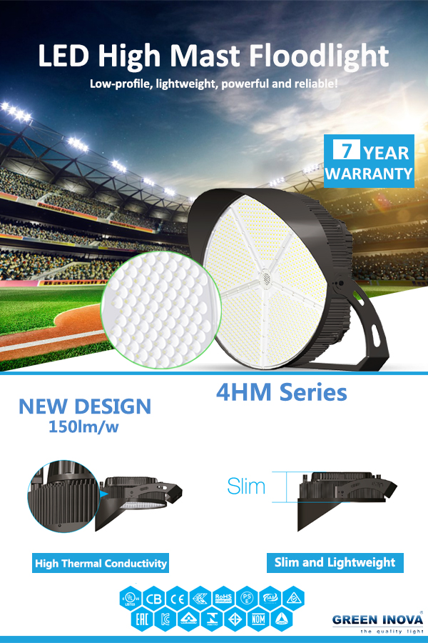 Green Inova Released Updated Version 4HM Series 150lm/w LED High Mast Light