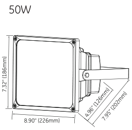 50W LED flood light dimension