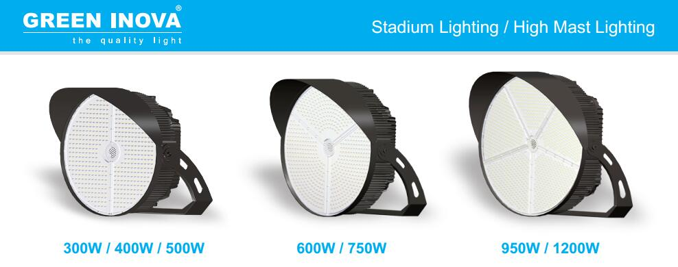 Green Inova LED High Mast Light Stadium Light are DLC Premium Certificated