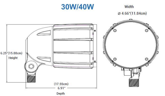 Dimension for 30W 40W 5BF