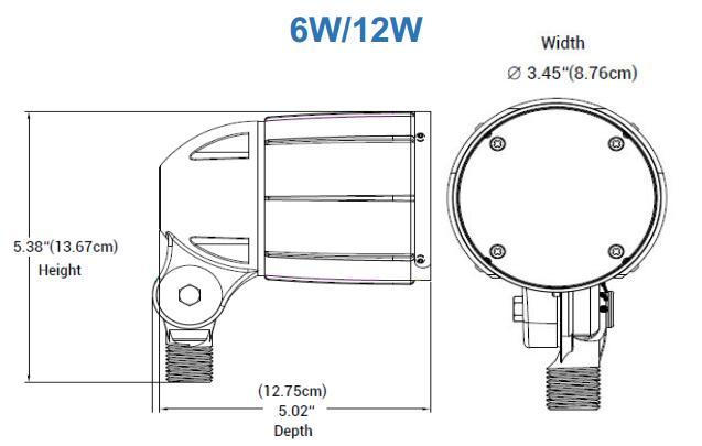 Dimension for 6W 12W 5BF